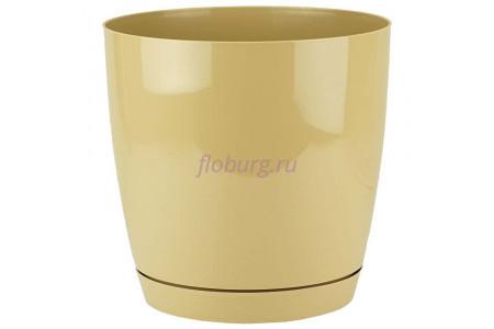 Горшок для цветов пластиковый с поддоном Toscana круг. 9л с под.(кофе) (0746-002)