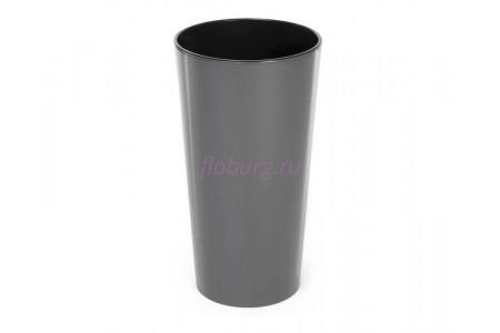 Кашпо со вставкой пластиковое без поддона и дренажного отверстия Lilia 30x30x57см (антрацит) 546-82