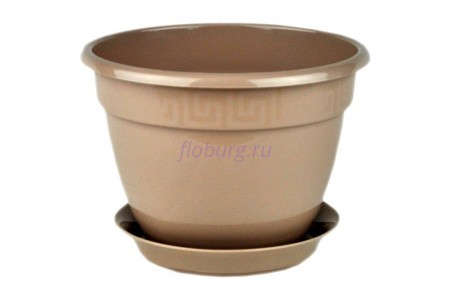 Горшок для цветов пластиковый с поддоном Антик с под.13 (фраппе) 0656