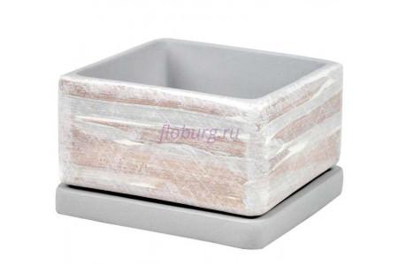 Горшок для цветов керамический с поддоном ДВ-светлый Кубик низкий d15/h10см NK01/7