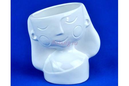 Кашпо керамическое Девочка (0801) бел. ГЛ0801