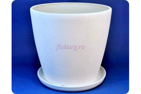 Горшок для цветов керамический с поддоном «Грация 30л шелк белый»