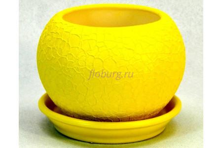 Горшок для цветов керамический с поддоном «Шар 0,4л шелк желтый»