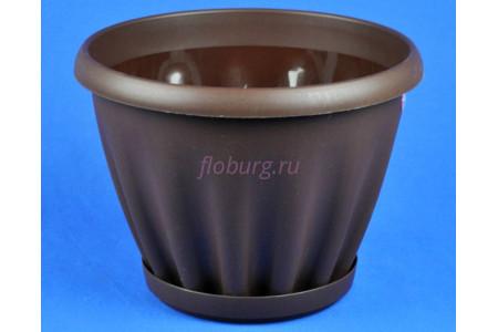 Горшок для цветов пластиковый Знатный с под.11л (шоколад) 606