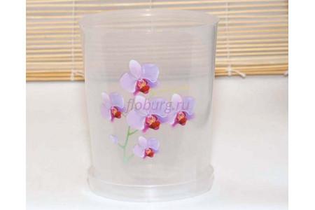 Горшок для цветов пластиковый с поддоном Для Орхидей 1,2л (прозр)-1 с под м1603Ж