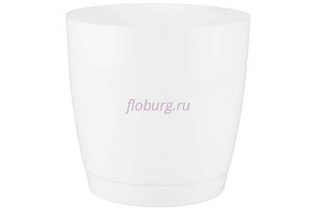 Горшок для цветов пластиковый с поддоном Toscana круг. 9л с под.(бел) (0746-011)