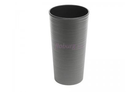Кашпо со вставкой пластиковое без поддона и дренажного отверстия Lilia dluto 30x57см (графит) 727-50