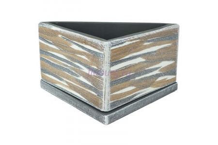 Горшок для цветов керамический с поддоном ДВ-темный Треугольник d23/h12см NK02/31