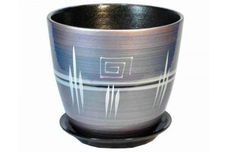 Горшок для цветов керамический с поддоном Роспись бутон браслет розовый 12см (РС 05/1)