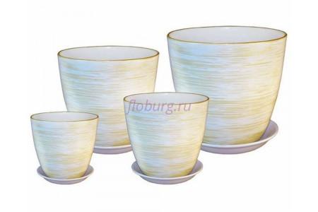 Горшки для цветов керамические с поддонами в наборе из 4-х «Бутон белый/золото» ЭК 01