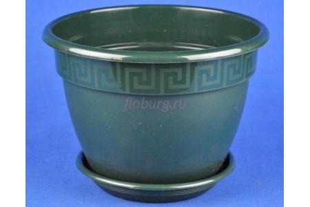 Горшок для цветов пластиковый с поддоном Антик с под.17 (малахит)