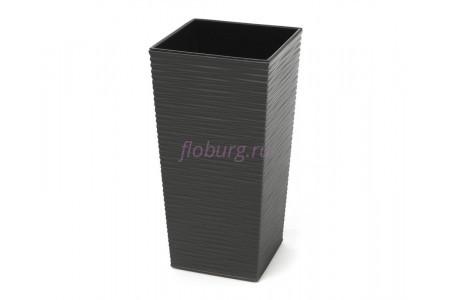 Кашпо со вставкой пластиковое без поддона и дренажного отверстия Finezja dluto 40x40x75см (графит) 591-50