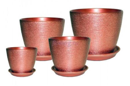 Горшки цветочные в наборе из 4-х «Кассандра металлик (гранат)»