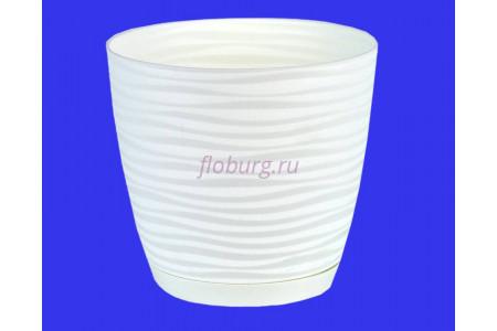Горшок для цветов пластиковый с поддоном Sahara petit  0,65л (бел) 3000-011