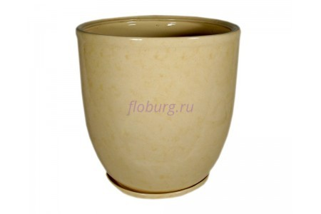 Горшок для цветов керамический с поддоном «Кедр №4» бежевый 28л