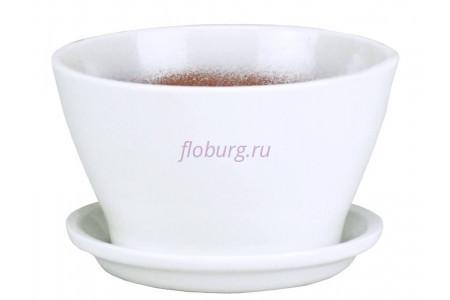 Горшок для цветов керамический поддоном Беллита Глянец бел.12см ГЛ901/1