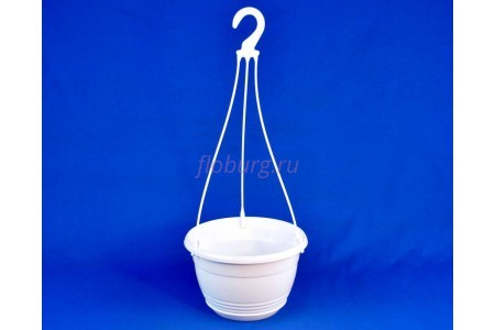 Горшок для цветов пластиковый с поддоном подвесной Глория 4,2л (белое)