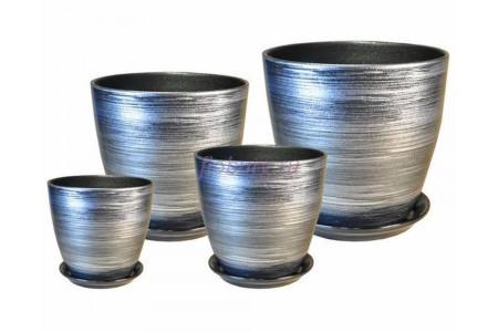 Горшки для цветов керамические с поддонами в наборе из 4-х «Бутон черный/серебро» ЭК 04