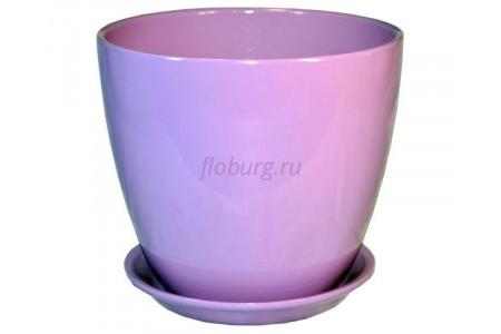 """Горшок для цветов керамический с поддоном """"Бутон"""" 12см Глянец сиреневый ГЛ 05/1"""