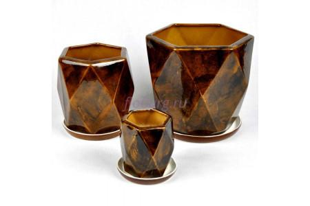 Набор керамических горшков для цветов Кристалл из 3-х (коричневый) 1043