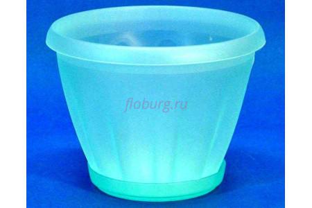 Горшок для цветов пластиковый с поддоном Знатный 2л (прозрачно-зеленый)