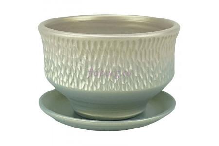 Горшок для цветов керамический с поддоном Павлин плошка светл.18см 3-33  38-233