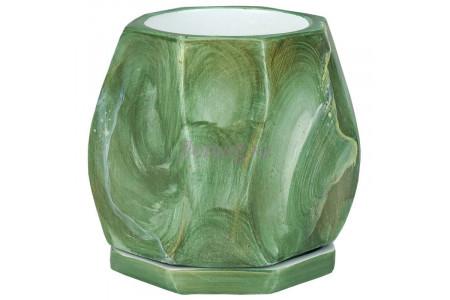 Горшок для цветов керамический с поддоном МК-малахит капля 12х12/h14см NK03/44