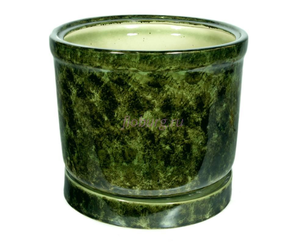 Горшок для цветов керамический с поддоном «Цилиндр №5» зелёный 19л