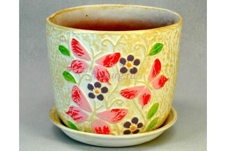 Горшок для цветов керамический с поддоном «Бабочки (35)» 13см E835-1