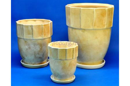 Горшки для цветов керамические с поддоном в комплекте из 3-х «Башня бежевая» 055