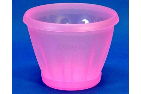 Горшок для цветов пластиковый с поддоном Знатный 2л (прозрачно-красный)