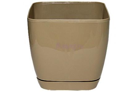 Горшок для цветов пластиковый с поддоном Toscana квадр.25см (кофе) 0736-002