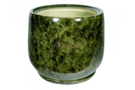 Горшок для цветов керамический с поддоном «Тюльпан №2» зелёный 26л