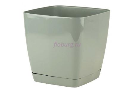 Горшок для цветов пластиковый с поддоном Toscana квадр. 7,6л с под.(серое) (0735-059)