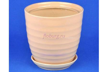 Горшок для цветов керамический поддоном Кольца d32см (беж)