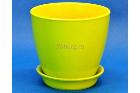 Горшок для цветов керамический с поддоном Виктория КП (10см) грушевый