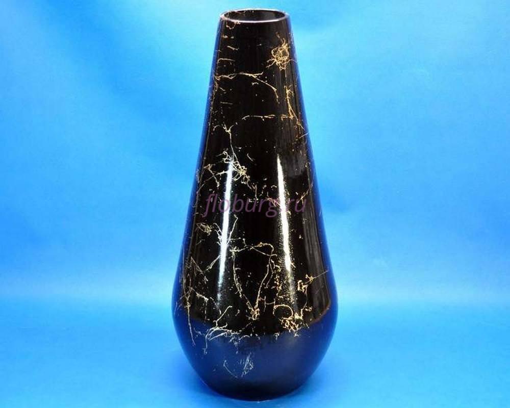 Ваза керамическая для сухоцветов  КАПЛЯ  большая черная