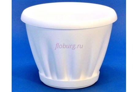 Горшок для цветов пластиковый с поддоном Знатный 2л (белый)