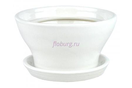 Горшок для цветов керамический с поддоном Конус №5 d17см (бел)