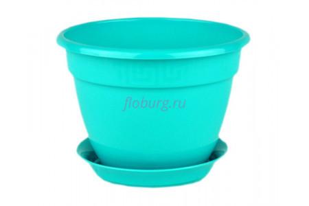 Горшок для цветов пластиковый с поддоном Антик с под.13 (бирюза) 0648