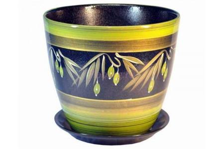 Горшок для цветов керамический с поддоном Роспись бутон оливки 12см (РС 19/1)