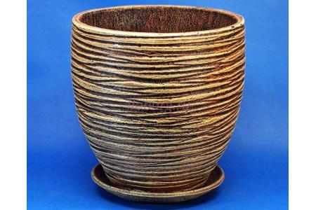 Горшок для цветов керамический с поддоном Турин полосы d37см (беж)