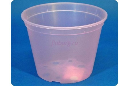 Кашпо дренажное пластиковое  18 х 13,5см (розово-прозрачное)