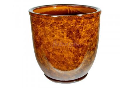 Горшок для цветов керамический с поддоном «Кедр №4» коричневый 28л