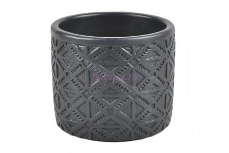 Кашпо керамическое без поддона и дренажного отверстия Шале 1,25л (антрацит)