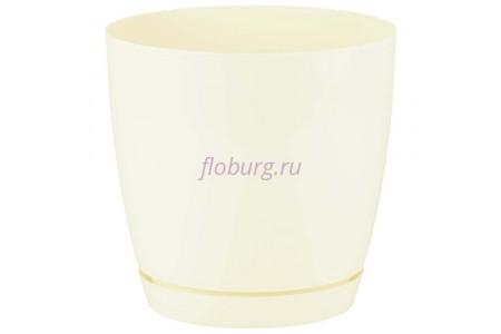 Горшок для цветов пластиковый с поддоном Toscana круг. 4,4л с под.(крем) (0744-001)