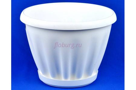 Горшок для цветов пластиковый Знатный с под.11л (бел) 601