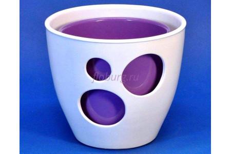 Кашпо двойное керамическое «ВК из 2-х КП (16-13см)» бело-сиреневое