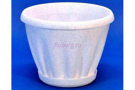 Горшок для цветов пластиковый с поддоном Знатный 0,45л (мрамор)