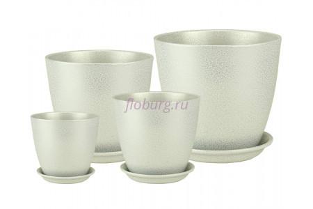 Горшки для цветов керамические с поддонами в комплекте из 4-х «Бутон глянец металлик бело-серый» ГЛ 08
